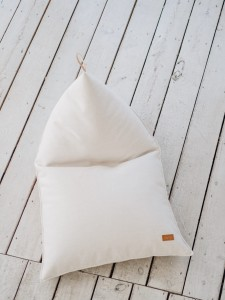 Beanbag with leather handle, ECRU MELANGE