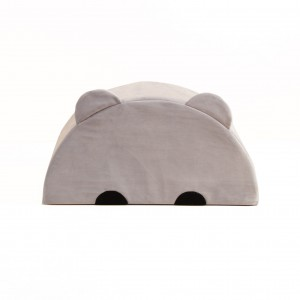 Bear pouf, plush grey