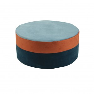 Round pouf , multicolor pouf blue/ginger/indygo