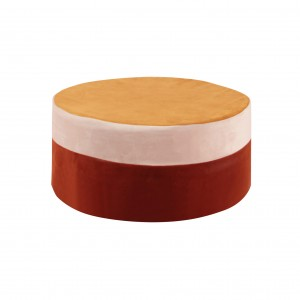 Round pouf , multicolor pouf yellow/ecru/ginger