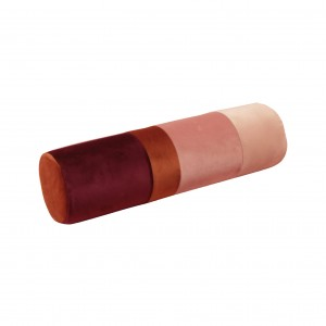 Roller pillow, velvet pink/ginger/deep red