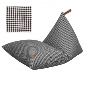 Beanbag with leather handle,  houndstooth