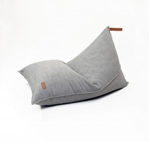 Beanbag  COVER with leather handle,  GREY MELANGE (L- 80 X 120 CM)