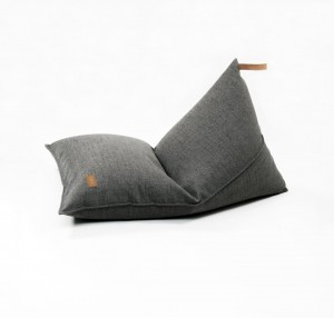 Beanbag  COVER with leather handle,  DARK GREY MELANGE (L- 80 X 120 CM)