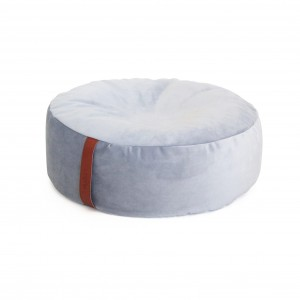 Pouf round, plush GREY